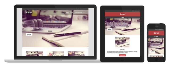 O layout do Goran muda ligeiramente para garantir que o conteúdo importante seja a prioridade, independentemente do tipo de dispositivo usado para visualizar o site.
