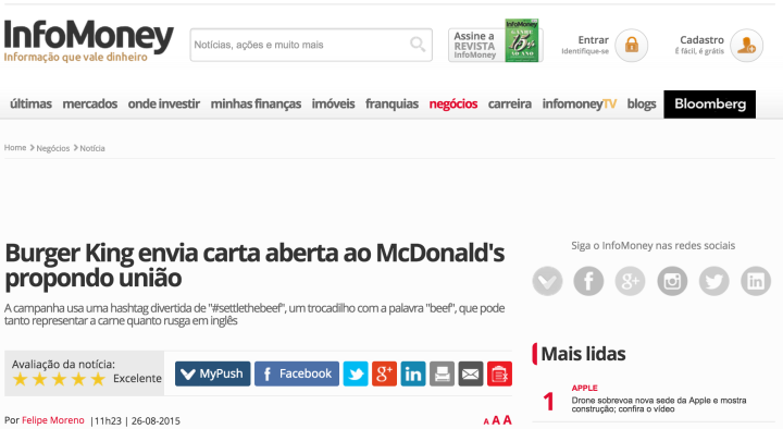 Ao procurar sobre o episódio Burger King e McDonalds no Google Notícias essa é a notícia melhor rankeada. As duas marcas concorrentes falando de união é uma baita surpresa para o leitor.