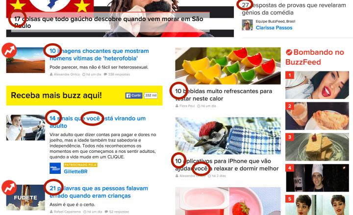 Exemplos de como o BuzzFeed usa números e fala diretamente com o leitor.