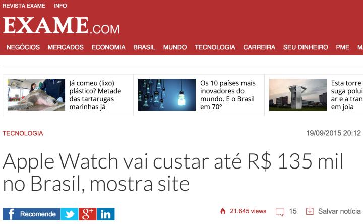 Uma das notícias mais populares no site da Exame nesse domingo, traz o nome do produto, valor e local já no título.