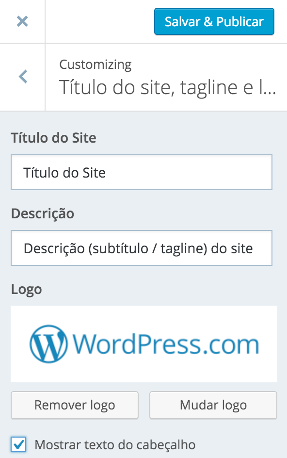 Titulo do site, tagline e logotipo