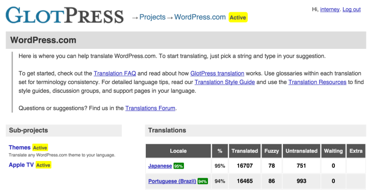 WordPress-com no GlotPress