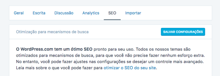 Painel de SEO - WordPress.com