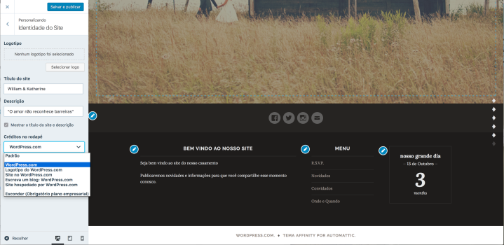 Personalizador do WordPress.com editando os créditos no rodapé
