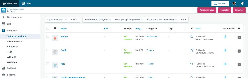 Print do cadastro de produtos na tela de configuração do WooCommerce